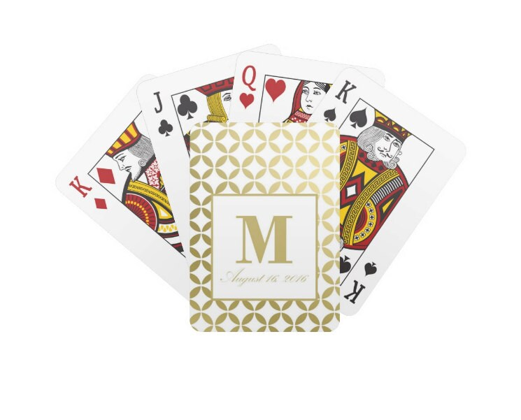 Personalized Unique Modern Wedding Playing Cards Custom Gold