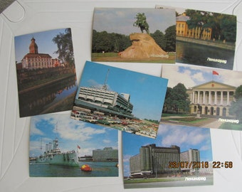 Set of 7 Vintage Soviet Postcards, Beautiful Collectible Postcards from 7 Views in Leningrad from 1980s