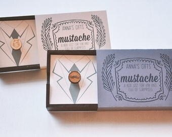 Wooden Mustache Gift Box and Wooden Laser Cut Brooch for Guys