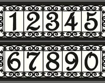 Framed Tile House Numbers, Framed Address Tiles, Framed Address Numbers - Set With Frame, Spanish Iron Design, Various Colors Available