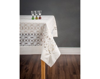 Modern tablecloth - Cream and white satin tablecloth with border - custom tablecloth