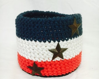 Crocheted Red White and Blue Basket