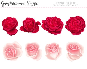 Painted Roses - Digital Clipart Graphics Instant Download