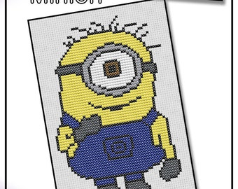 One Eyed Minion Cross Stitch Kit 9x13cm. With DMC thread