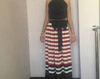 Maxi Skirt, Long Skirt, High Waisted Skirt, Stripe Skirt, Ribbon Skirt, Flare Skirt, Summer Skirt, Beach Skirt, Boho Skirt, Nautical Skirt