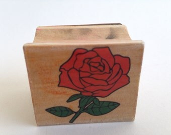 Red Rose Flower Vintage Rubber Stamp - Card Making - Crafts ~ 161012C