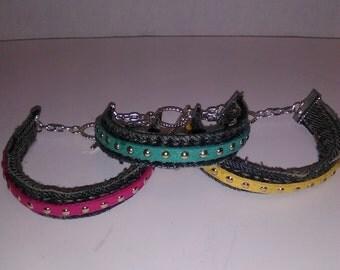 Denim Studded Bracelets