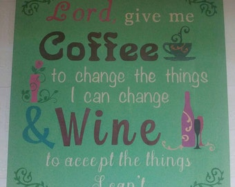 Coffee Wine Wall Art Hand painted. Rustic wall art. Customizable colors. Custom gift.