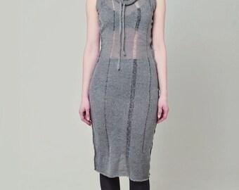 Grey maxi dress, knit cowl dress, knit jumper dress, torn dress, mohair dress, wool dress, long dress, hoodie dress, summer dress ANDADA 003