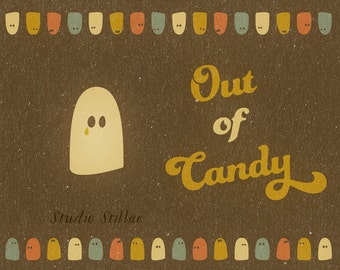 Halloween poster Out of Candy, seventies halloween party, trick or treat, instant download