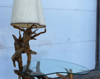 Vintage Driftwood Lamp with Built in Table