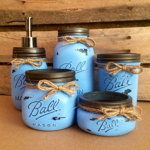 rustic blue mason jar bathroom set mason jar desk set mason