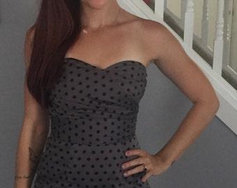 Gray Polka Dot Wiggle Dress