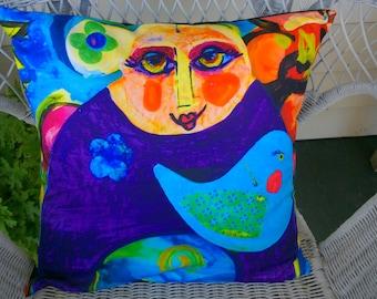 Bird girl Cushion Cover