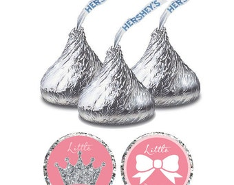 Little Princess Baby Shower Hershey Kiss Stickers, Instant Download Printable Baby Shower Decorations It's A Girl