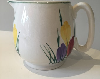 Vintage Art Deco Pretty 1930's 20s 30's art pottery jug in a crocus design