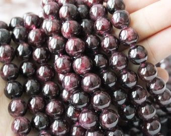 10mm Garnet, Round Beads, Gemstone Beads, Dark Red Beads, Round Smooth, Boho Beads, Rustic Beads,