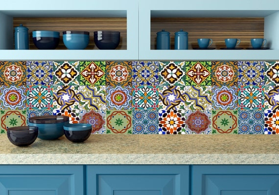 Set of 24 vintage traditional mexican tiles decals by alegriam for Traditional kitchen wall tiles