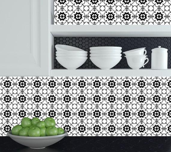 Set van 24 tegels stickers zwart & wit huisontwerp decoratie