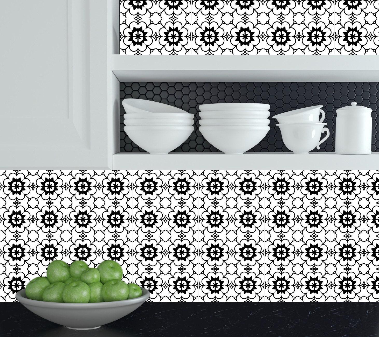 set van 24 tegels stickers zwart wit huisontwerp decoratie