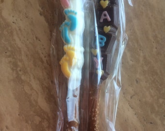 Baby feet and block Chocolate covered pretzel sticks -lot of 10