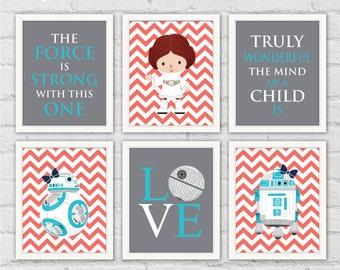 Leia or Rey Star Wars Nursery Art Prints. Princess Leia Rey BB-8 R2-D2. Turquoise Coral Gray Girl Room Decor. Set of 6 Prints. Item No.: 008