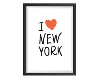I love New York - Printable Wall Art    - Modern Retro Print  - Wall Print - Studio Print - Office Print - Home Print - Travel