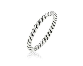 SALE Sterling silver rope ring with oxidised finish SALE