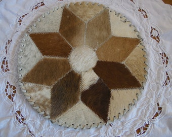 Doily goat skin and leather, vintage 70, France
