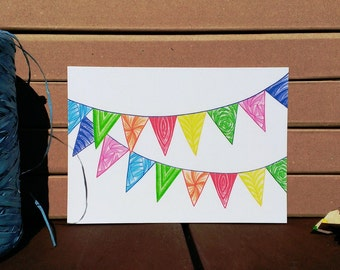 Card Flags Pattern - A6 Postcard - Blank Card - Birthday Card - Congratulations Card - Card Recycled Paper.