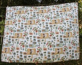 Vintage Linen Tablecloth, Leaves /Hearts Motif, Quiet Colors of Autumn, Retro Tablecloth, Retro Kitchen