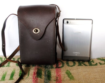50's Vintage Leather Camera Case / Handbag – large – Made in Australia – Fits small tablet ipad mini, Notebook