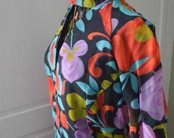 Flirty Floral Vintage 70's Dress / PEEP Neck / Sheer Sleeves / Bohemian / Hippie / Handmade
