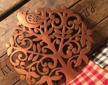1970 Copper and Cast Iron Tree of Life Trivet, Wall Hanging, Copper Kitchen Decor,