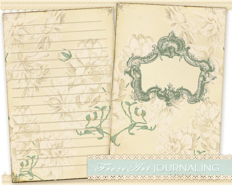 Vintage flower Journal pages Printable digital diary pages – Diary Paper Printable
