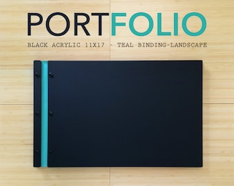 11x17 Portfolio Black Matte Landscape orientation, Portfolio Presentation, Screw Post Portfolio Case Folio Book Case Black Portfolio Design.