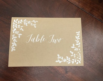 Handwritten Calligraphy Wedding/Party Table Number Cards