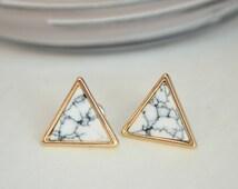 Marble triangle earrings,  marble stud earrings, marble triangle stud earrings, minimalist earrings, bridesmaid earrings, marble studs