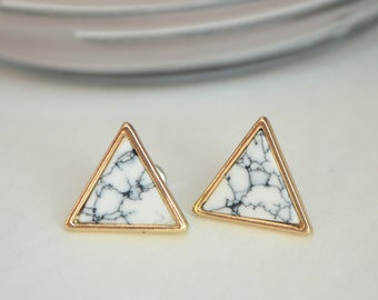 Marble triangle earrings,  marble stud earrings, marble triangle stud earrings, minimalist earrings, bridesmaid earrings, marble studs