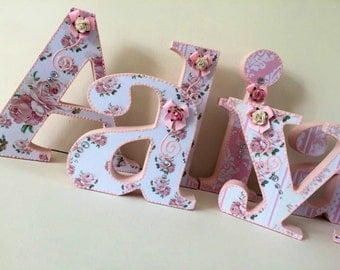 wooden letters, flower letters, baby shower letters, wall decor, free standing letters, nursery decor, baby Shower letters, baby girl, home