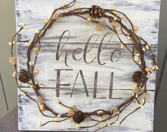 Rustic Fall Wood Pallet Sign w/ berry and pine cone garland, fall decor, fall home decor, inside home decor, fall decoration