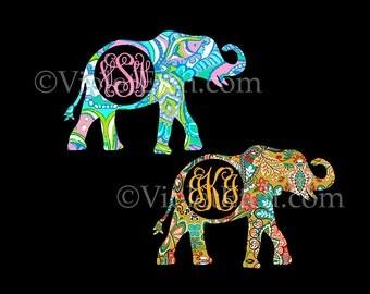 Elephant Decal-Elephant Monogram Decal-Decal-Vine Monogram-Laptop Decal-Yeti Decal-Car Window Decal