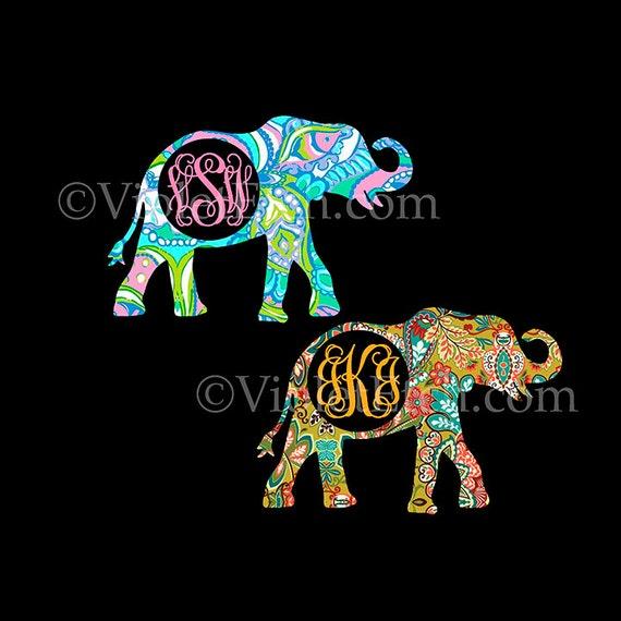 Elephant DecalElephant Monogram DecalDecalVine - Elephant monogram car decal