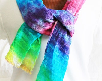 Breezy Multicolor Tie-Dyed Scarf woven 100% Cotton- Lightweight