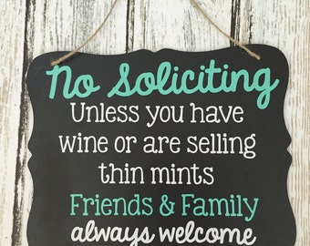 No Soliciting Sign - Thin Mints Soliciting Sign - Wine Soliciting Sign - Chalkboard Sign - Funny Solicitation Sign
