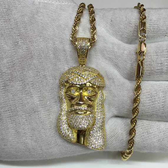 Big face jesus piece lab made diamonds cz rope by for Custom lab made hip hop jewelry