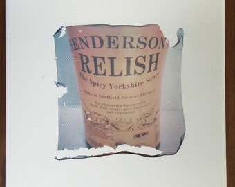 "Unique polaroid photography emulsion lift on canvas ""Hendo's"""