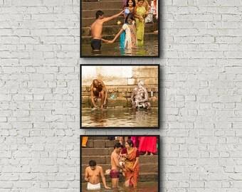 Photographs - Digital Colour, India, Varanasi, Benares, Kashi, Ghats, Hindu, Ganges River, Holy Bath, Pilgrim, Travel, Set of 3 Prints