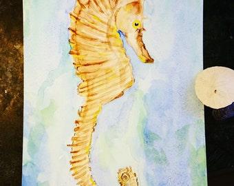 Beach Art, Oceanlife art, Seahorse, sealife, Ocean. Original 9x12 watercolor painting. Beautiful Sea Horse.