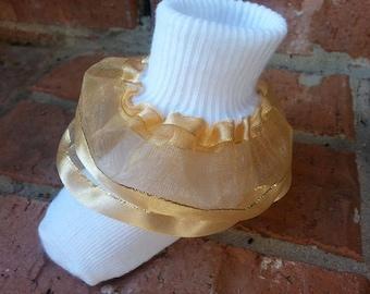 Gold organza ruffle socks, 3 pair for 12.00, Ruffle socks, Baby socks, Girls socks, socks, Holiday socks